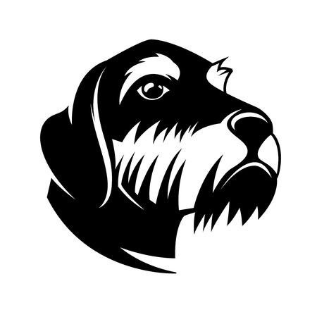 Dackelkopfillustration. Gestaltungselemente für Logo, Label, Schild, Poster, Karte, Banner. Vektor-Illustration Logo