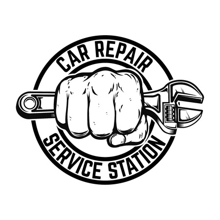 Car repair service station. Hand with adjustable wrench. Design element for logo, label, emblem, sign, poster, banner. card, t shirt. Vector image