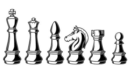 Illustrazione delle figure di scacchi su sfondo bianco. Elementi di design per logo, etichetta, segno, poster, carta, banner.