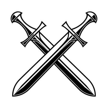 Crossed medieval swords on white background. Design element for logo, label, emblem, sign, poster, t shirt. Vector illustration Imagens - 127143467