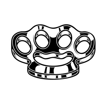 Brass knuckle illustration. Design element for logo, label, sign, poster, t shirt.