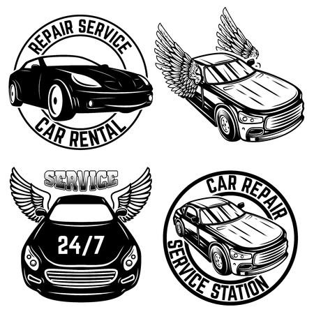 Set of emblems with cars. Repair service, car rental. Design element for logo, label, sign, poster, t shirt.