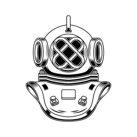 Vintage diver helmet in engraving style. Design element for logo, label, emblem, sign, poster, t shirt. Vector illustration