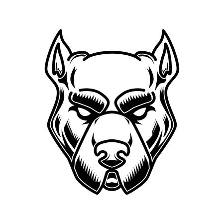 Pitbull head illustration in engraving style. Design element for logo, label, sign, poster, t shirt. Illustration
