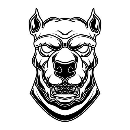 Pitbull head illustration in engraving style. Design element for logo, label, sign, poster, t shirt.  イラスト・ベクター素材