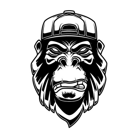 Gorilla in baseball cap on white background. Design element for logo, label, emblem, sign, poster, t shirt.