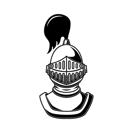 Knight helmet on white background. Design element for logo, label, emblem, sign, poster, t shirt.