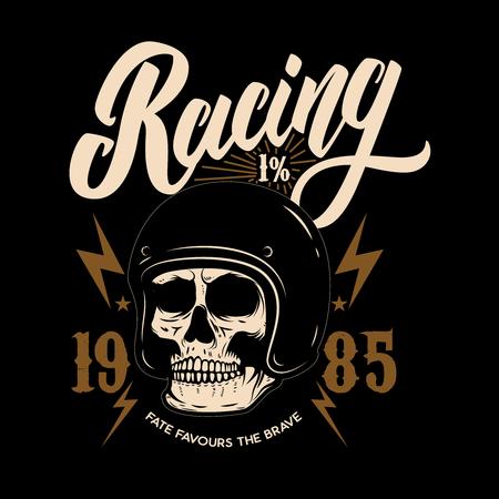 Racing. Emblem template with biker skull. Design element for poster, t shirt, sign, label, logo.