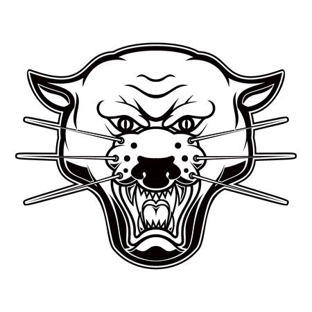 Illustration of pantera head on white background. Design element for logo, label, emblem, sign, poster, t shirt. Standard-Bild - 114136504
