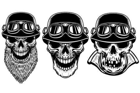 Set of biker skulls on white background. Design element for logo, label, sign, poster, t shirt.