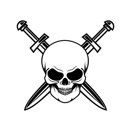 Skull with crossed swords. Design element for logo, label, sign, poster, t shirt.