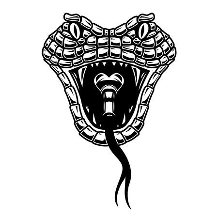 Illustrazione della testa di serpente in stile incisione. Elemento di design per logo, etichetta, segno, poster, t-shirt.