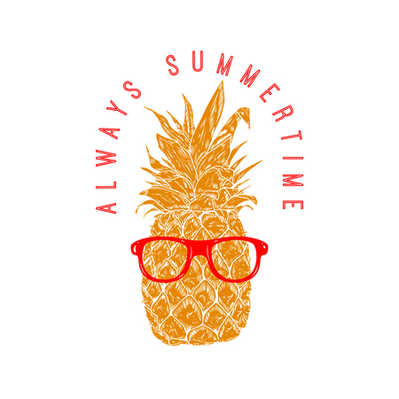 Always summertime. Pineapple in sunglasses. Design element for poster, menu, banner. Vector illustration Ilustração
