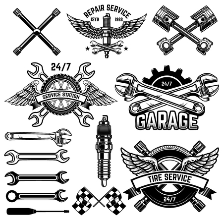 Ensemble d'emblèmes de station-service et d'éléments de conception. Pour le logo, l'étiquette, le signe, la bannière, le t-shirt, l'affiche.