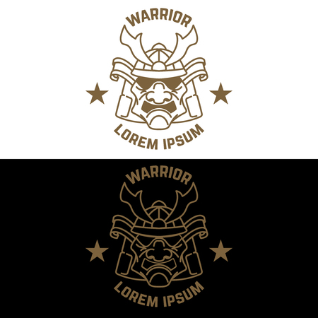 Emblem template with samurai helmet in line style. Design element for logo, label, sign, poster, t shirt.