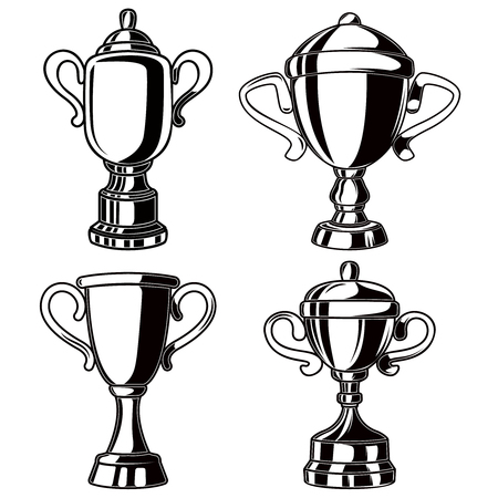 Set of winner cups in engraving style. Design element for logo, label, sign, banner, poster, flyer. Vector illustration