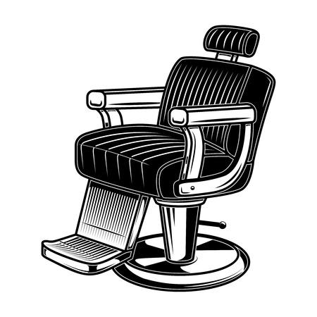 Barber shop chair illustration in engraving style. Design element for logo, label, sign, poster, t shirt. Vector illustration