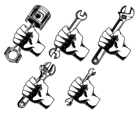 Hand with wrench, car piston.Design element for logo, label, emblem, sign. Vector illustration