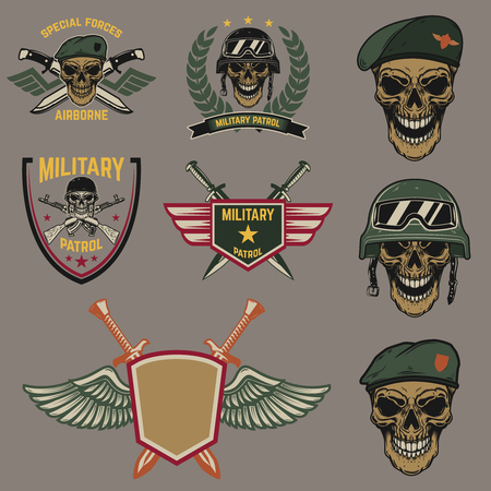 Set of military emblems. Paratrooper skull with crossed knives.Design element for logo, label, emblem, sign. Vector illustration