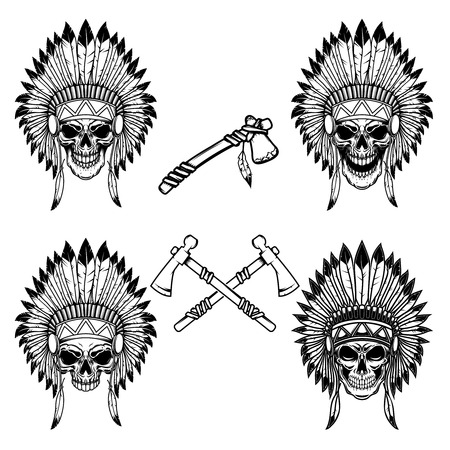 Native indian chief skull with crossed tomahawks. Design element for logo, label, emblem, sign. Vector illustration