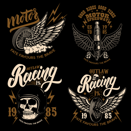 Set of racer emblem templates with motorcycle motor, wheels. wings. Design element for logo, label, emblem, sign, poster, t shirt. Banco de Imagens - 114137090
