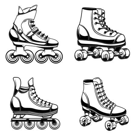Conjunto de ilustración de patines. Elemento de diseño de logotipo, etiqueta, emblema, letrero, cartel, camiseta. Imagen vectorial Logos