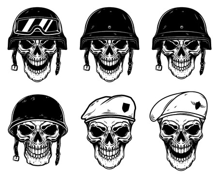 Set of soldier skulls in paratrooper beret, tactical helmet. Design element for logo, label, emblem, sign, poster, t shirt. Vector image