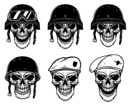 Set of soldier skulls in paratrooper beret, tactical helmet. Design element for logo, label, emblem, sign, poster, t shirt. Vector image Illustration