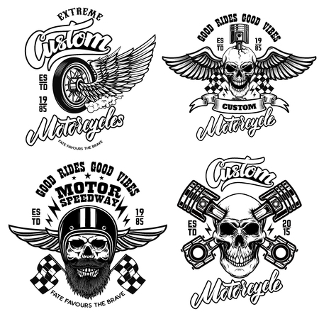 Set of racer emblem templates with motorcycle motor, wheels. wings. Design element for logo, label, emblem, sign, poster, t shirt.