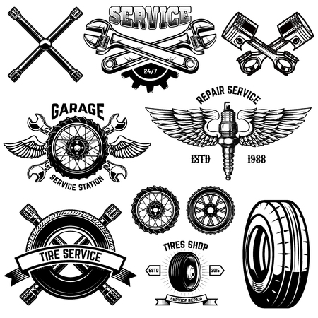 Set of vintage tire service emblems and design elements. For logo, label, emblem, sign, poster, banner,t shirt.