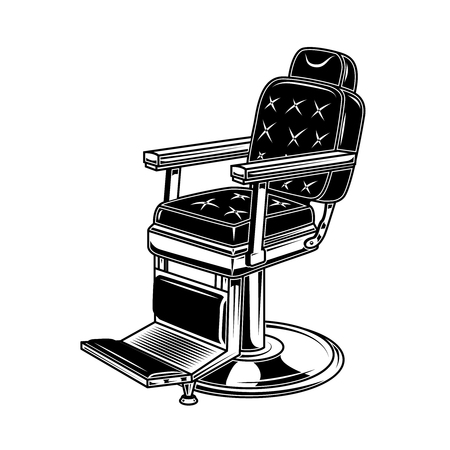Barber shop chair illustration in engraving style. Design element for logo, label, sign, poster, t shirt.