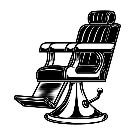 Barber shop chair illustration in engraving style. Design element for logo, label, sign, poster, t shirt.