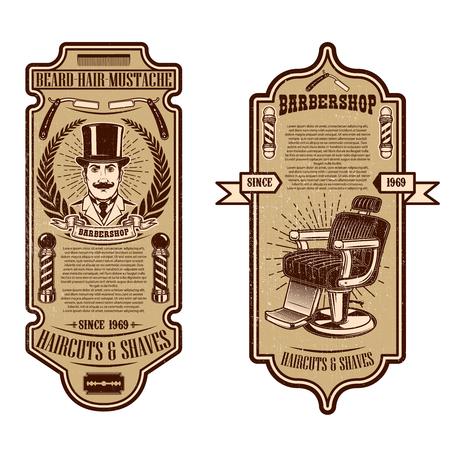 Plantilla de volante de peluquería. Silla de peluquero y herramientas sobre fondo grunge. Elemento de diseño de emblema, letrero, cartel, tarjeta, banner. Ilustración de vector
