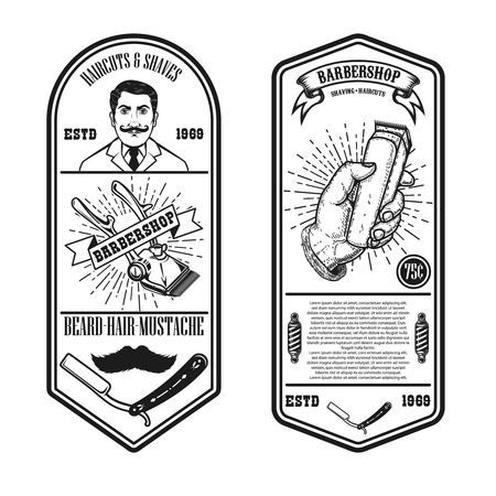 Barber shop flyer template. Gentleman,barber chair and tools. Design element for emblem, sign, poster, card, banner. Vector illustration