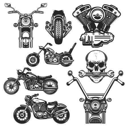 Set of motorcycle design elements. for logo, label, emblem, sign, poster, t shirt. Foto de archivo - 114137426