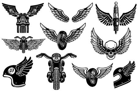 Set of motorcycle design elements. for logo, label, emblem, sign, poster, t shirt. Çizim