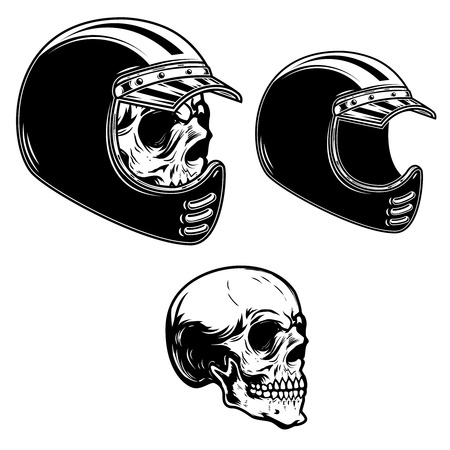 Biker skull in racer helmet in engraving style. Design element for logo, label, emblem, sign, poster, t shirt.