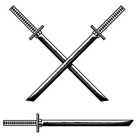 Épée katana de samouraï. Élément de design pour logo, étiquette, signe, bannière, affiche, flyer. Illustration vectorielle