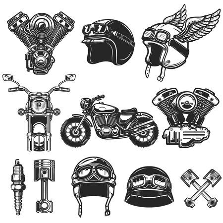 Conjunto de elementos de diseño de motocicletas. para logotipo, etiqueta, emblema, letrero, cartel, camiseta.