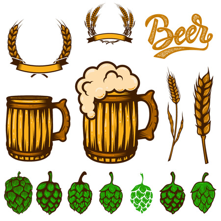 Set of beer design elements. Wheat spikelets, beer hop,mugs. For logo, label, emblem, sign, poster, banner, flyer.