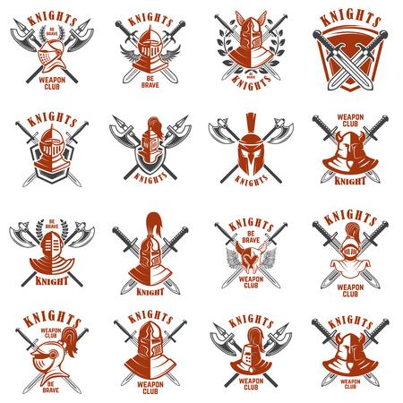 Set of emblems with knights, swords and shields. Design element for logo, label, emblem, sign, poster, t shirt. Illusztráció