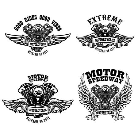 Set von Biker-Emblem-Vorlagen mit geflügelten Motorradmotoren. Gestaltungselement für Logo, Label, Emblem, Schild, Poster, T-Shirt. Vektor-Illustration Logo
