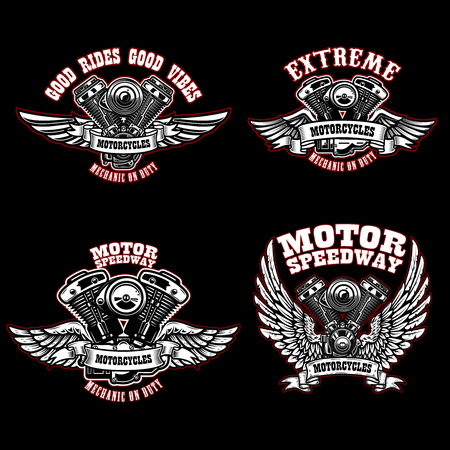 Conjunto de plantillas de emblema de motociclista con motores de motocicleta alados. Elemento de diseño de logotipo, etiqueta, emblema, letrero, cartel, camiseta. Ilustración vectorial