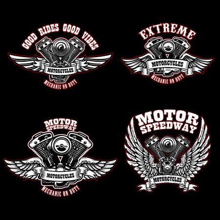 Set of biker emblem templates with winged motorcycle engines. Design element for logo, label, emblem, sign, poster, t shirt. Vector illustration