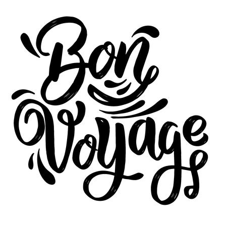 Bon Voyage. lettering phrase on white background. Design element for poster, card, banner. Vector illustration Vetores