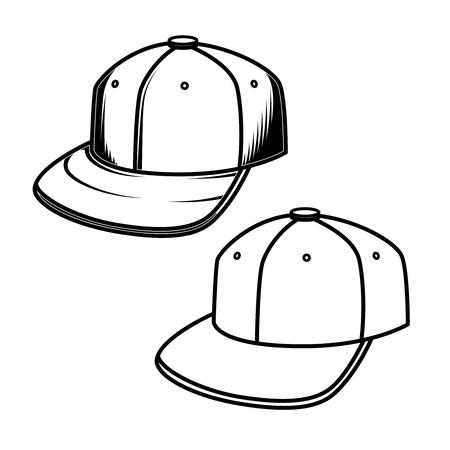 Baseball cap on white background. Design element for emblem, sign, badge. Vector illustration