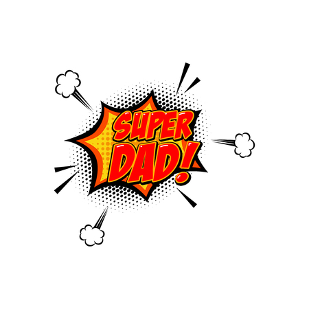 Super dad. phrase in comic style. Design element for poster, card, banner. Vector image