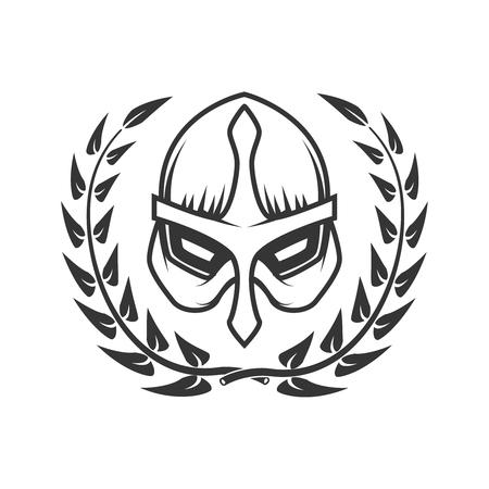 Medieval warrior helmet with wreath. Design element for logo, label, emblem, sign. Vector illustration Illustration