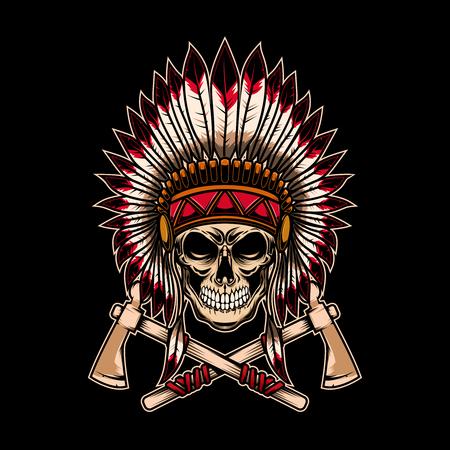 Cranio capo indiano nativo con tomahawk incrociati su sfondo scuro. Elemento di design per logo, etichetta, emblema, segno. Illustrazione vettoriale