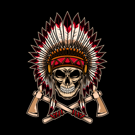 Native indian chief skull with crossed tomahawks on dark background. Design element for logo, label, emblem, sign. Vector illustration Ilustrace
